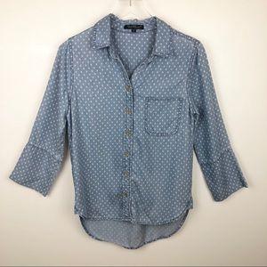 Velvet Heart V-Neck Button Down Tencel Shirt
